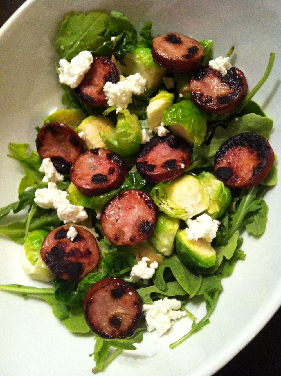 arugula salad with brussels sprouts, goat cheese and smoked apple ...